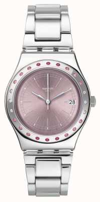 Swatch PINKAROUND  | Silver Stainless Steel Bracelet | Pink Dial YLS455G