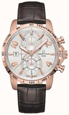 Certina | DS Podium | Chrono Auto | Brown Leather Strap | Silver Dial C0344273603700
