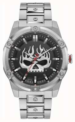 Harley Davidson Men's Flaming Willie G Skull | Stainless Steel Bracelet 76A164