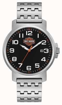 Harley Davidson Men's Stainless Steel Bracelet | Black Easy Read Dial 76B187