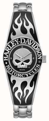 Harley Davidson Women's Flaming Willie G Skull Dial | Stainless Steel Bangle Bracelet 76L190