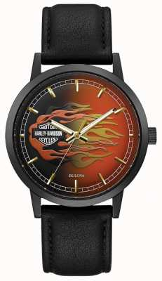 Harley Davidson Men's Metallic Flames | Black Leather Strap | Flame Dial 78A123