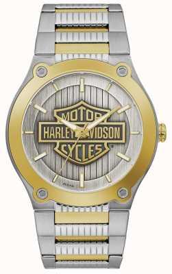 Harley Davidson Men's Two-Tone Steel Bracelet | Silver Dial 78A125