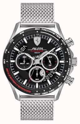 Scuderia Ferrari Men's Pilota Evo | Silver Steel Mesh Bracelet | Black Dial 0830826