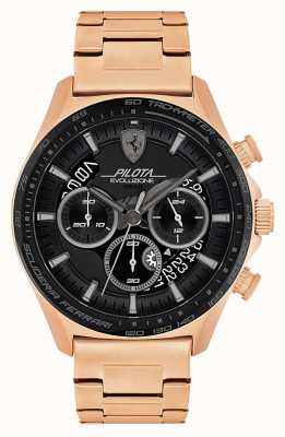 Scuderia Ferrari Men's Pilota Evo | Rose Gold Plated Steel Bracelet | Black Dial 0830825