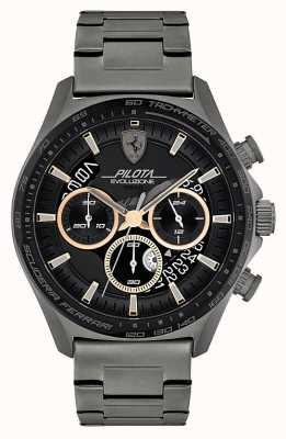 Scuderia Ferrari Men's Pilota Evo | Grey IP Steel Bracelet | Black Dial 0830824