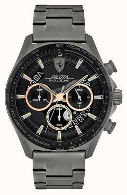 Scuderia Ferrari Men's Pilota Evo | Grey IP Steel Bracelet | Black Dial 0830824