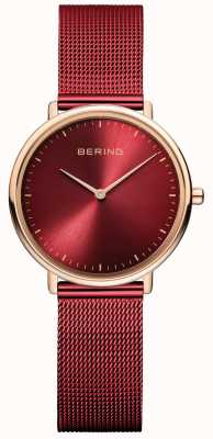 Bering Classic Women's Red and Rose-Gold Watch 15729-363