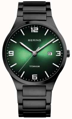 Bering Men's Titanium Green Dial Watch 15240-728
