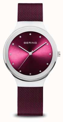 Bering Classic | Women's | Polished Silver | Purple Mesh 12934-909