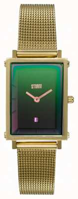 STORM Issimo Gold Lazer Green | Gold Steel Mesh Bracelet | Green Dial 47489/GD/GN
