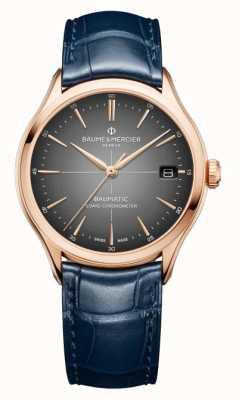 Baume & Mercier Clifton Blue Leather Strap Grey Dial Watch M0A10584
