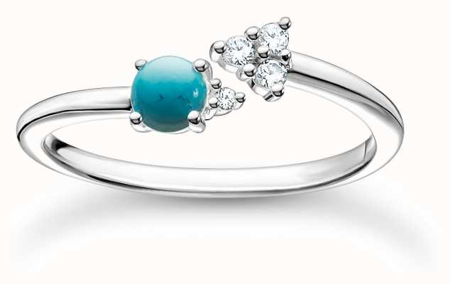Thomas Sabo Silver Zirconia Turquoise Ring | Size 56 (UK O 1/2 ) TR2345-405-17-56