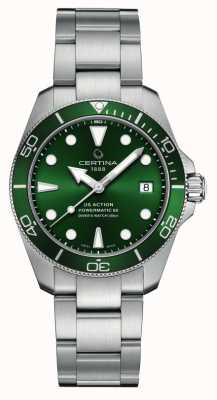 Certina DS Action Diver   Green Dial   Stainless Steel Bracelet C0328071109100
