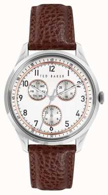 Ted Baker DAQUIR MULTI | White Dial | Brown leather Strap BKPDQS104