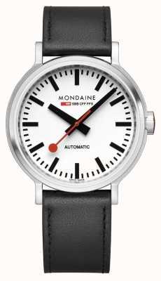 Mondaine Original Automatic | Backlight | Black Leather Strap | White Dial MST.4161B.LB