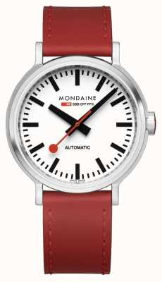 Mondaine Original Automatic | Backlight | Red Leather Strap | White Dial MST.4161B.LC