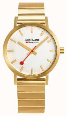 Mondaine Classic Metal 40mm | IP Plated Gold Bracelet | Silver Dial A660.30360.16SBM