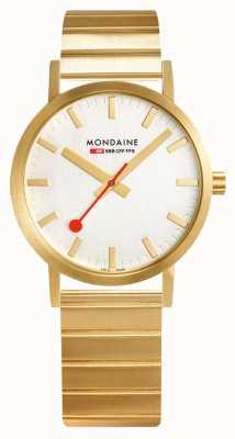 Mondaine Classic Metal 36mm | IP Gold Steel Bracelet | Silver Dial A660.30314.16SBM