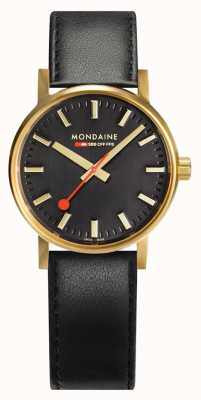Mondaine Evo2 Gold 30mm | Black Leather Strap | Black Dial | IP Gold Case MSE.30120.LB