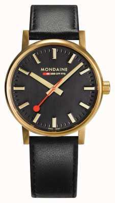 Mondaine Evo2 Gold 40mm | Black Leather Strap | Black Dial | IP Gold Case MSE.40122.LB