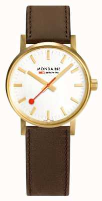 Mondaine Evo2 Gold 30mm | Brown Leather Strap | Silver Dial | IP Gold Case MSE.30112.LG
