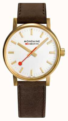 Mondaine Evo2 Gold 30mm | Brown Leather Strap | Silver Dial | IP Gold Case MSE.40112.LG