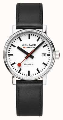 Mondaine Evo2 Automatic 35mm | Black Leather Strap | White Dial MSE.35610.LB