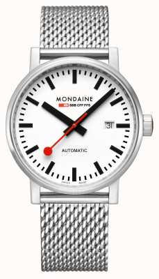 Mondaine Evo2 Automatic 40mm | Stainless Steel Mesh Bracelet | White Dial MSE.40610.SM
