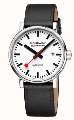 Mondaine Evo2 Automatic 40mm | Black Leather Strap | White Dial MSE.40610.LB