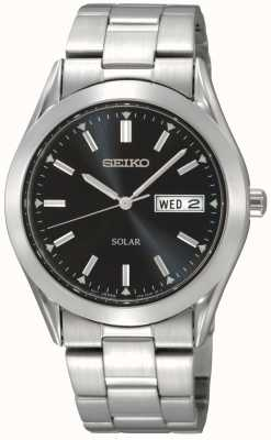 Seiko Solar Powered day/Date Display Black Stainless steal SNE039P1