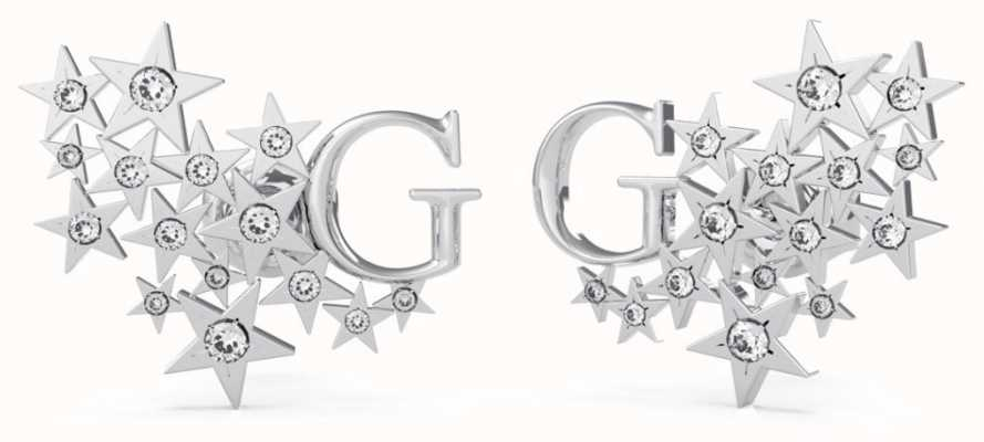 Guess A Star Is Born | G Logo & Stars Silver Stud Earrings UBE70159