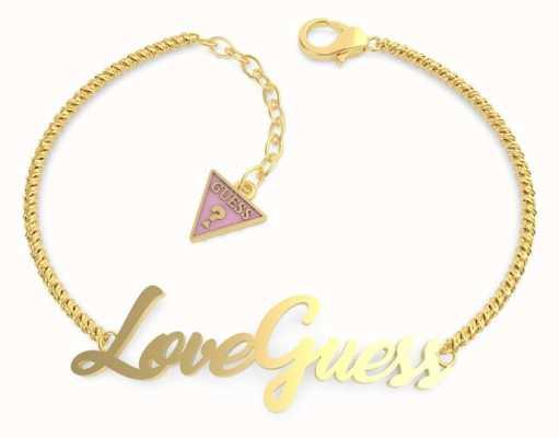 Guess Dream & Love | 'Love guess' Script Gold Bracelet UBB70058-L
