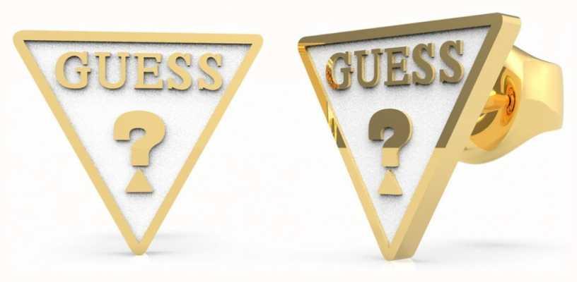Guess Dream & Love | White Triangle Logo Gold Stud Earrings UBE70124