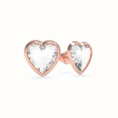 Guess From Guess With Love | Crystal Heart Rose Gold Stud Earrings UBE70041
