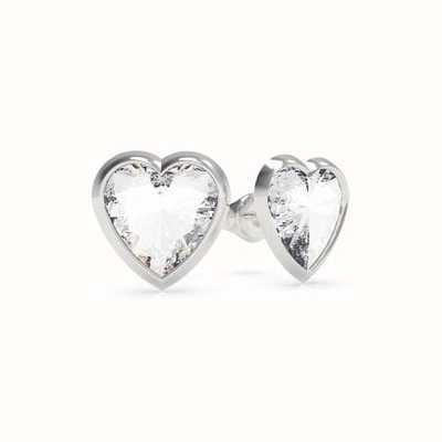 Guess From Guess With Love | Crystal Heart Silver Stud Earrings UBE70039