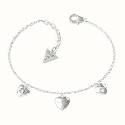 Guess Guess Is For Lovers | Multi Hearts Chain Silver Bracelet UBB70037-L