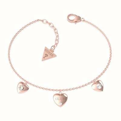 Guess Guess Is For Lovers | Multi Hearts Chain Rose Gold Bracelet UBB70039-L