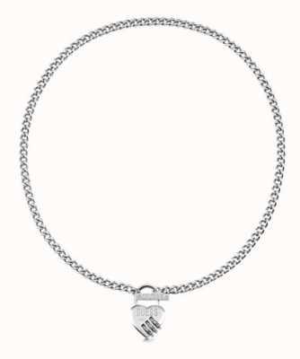 Guess Lock Me Up | 18'' Heart Padlock T-Bar Silver Necklace UBN20049
