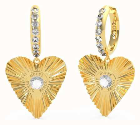 Guess Plisse | Heart Huggies Gold Plated Earrings UBE70260