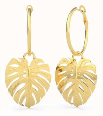 Guess Tropical Summer | Women's Leaves Dangling Gold Hoop Earrings UBE70220