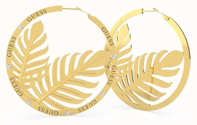Guess Tropical Summer | Double Leaves Gold Hoop Earrings UBE70228