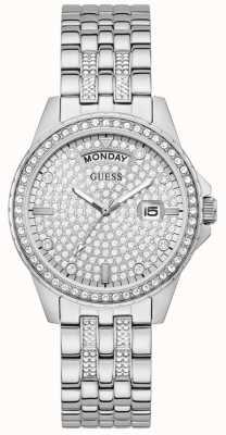 Guess Women's Comet | Stainless Steel Bracelet | Silver Crystal Set Dial GW0254L1