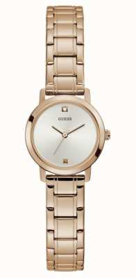 Guess Mini Nova | Women's Rose Gold Plated Steel Bracelet | Silver Dial GW0244L3