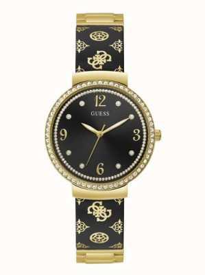 Guess Women's Motif | Stainless Steel Black/Gold Bracelet | Black Dial GW0252L2