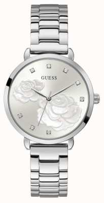 Guess Sparkling Rose | Women's Stainless Steel Silver Bracelet | Silver Dial GW0242L1