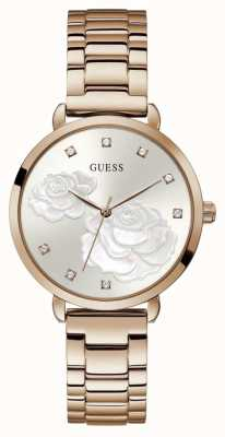 Guess Sparkling Rose | Women's Rose Gold Plated Steel Bracelet | Silver Dial GW0242L3