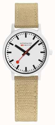 Mondaine Essence 32mm | Silver Green Strap | White Dial MS1.32110.LS