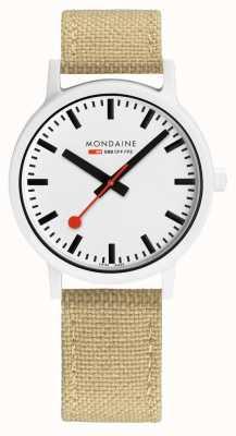 Mondaine Essence 41mm | Silver Green Strap | White Dial MS1.41110.LS