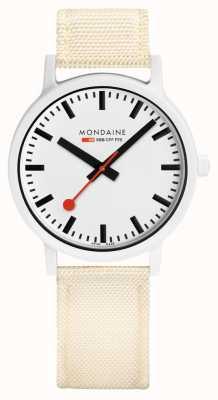 Mondaine Essence 41mm | Off White Strap | White Dial MS1.41111.LT